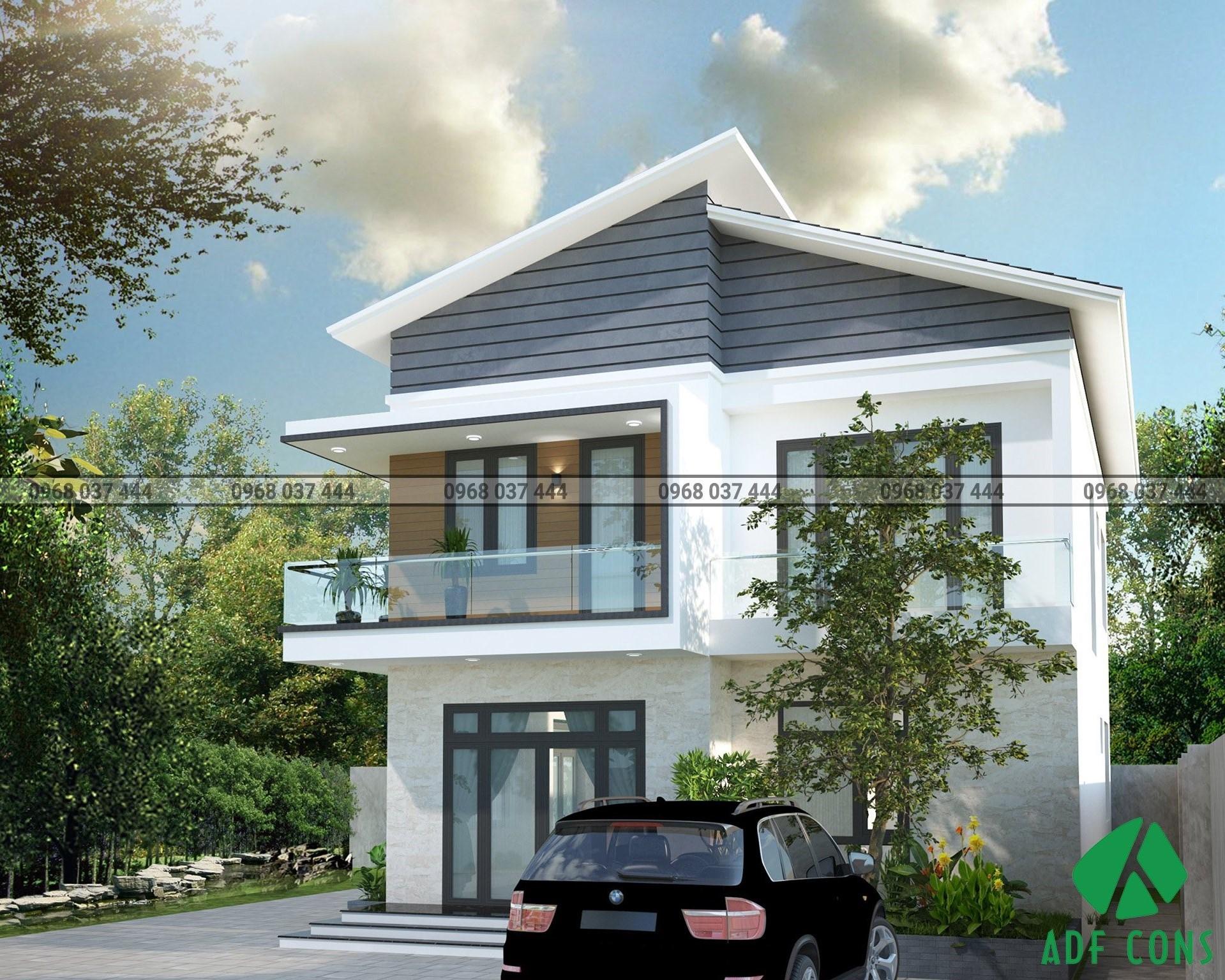 Phối cảnh 3D mặt tiền 7m biệt thự hiện đại 2 tầng